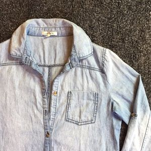 Faded jean dress; long-sleeve button-up